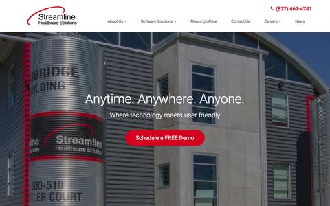 Screenshot of Home Page streamlinehealthcare.com - Healthcare IT Solutions, Healthcare Software & IT Services - Kalamazoo, Portage, Alamo | Streamline Healthcare Solutions, LLC - captured Feb. 16, 2016