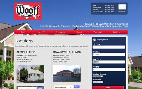 Screenshot of Locations Page wooffrealtors.com - Locations «  Wooff Realtors - captured Oct. 26, 2014