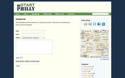 Screenshot of Contact Page startphilly.com - Start Philly | Contact Us | Start Philly - Startups in and about Philadelphia - captured Oct. 29, 2014