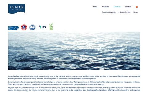 Screenshot of About Page lumarseafood.com - About us – Lumar Seafood - captured Oct. 3, 2016