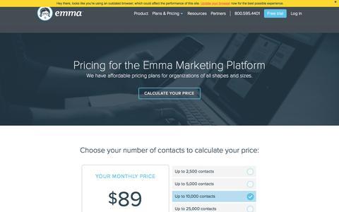 Screenshot of Pricing Page myemma.com - Emma Pricing   Emma, Inc. - captured Nov. 17, 2015