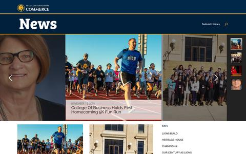 Screenshot of Press Page tamuc.edu - Home - News and Events for Texas A&M University-Commerce in East Texas - captured Nov. 15, 2018
