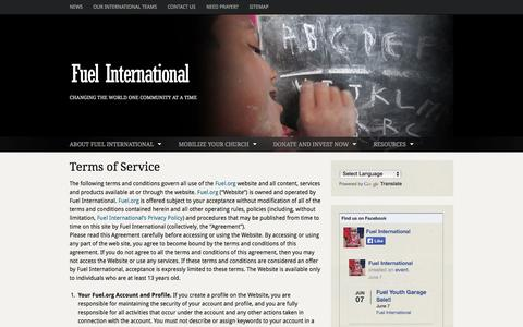 Screenshot of Terms Page fuel.org - Terms of Service | Fuel International | Changing the World One Community at a Time - captured Oct. 1, 2014