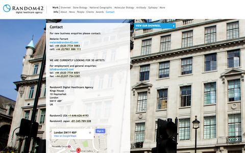 Screenshot of Contact Page random42.com - Contact | Random42 Medical Animation - captured Sept. 19, 2014