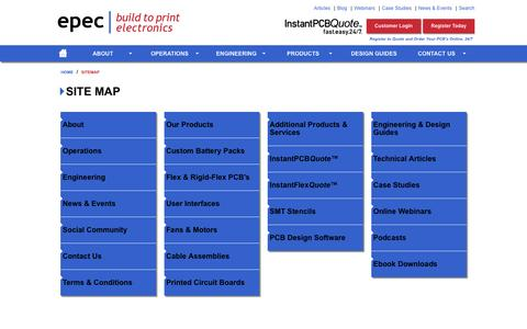 Screenshot of Site Map Page epectec.com - Site Map - Manufactured Engineered Products | www.epectec.com - captured Jan. 29, 2016