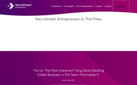 Screenshot of Press Page recruitmententrepreneur.com - Recruitment Entrepreneur  –  Press - captured Sept. 22, 2014
