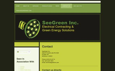 Screenshot of Contact Page seegreen-inc.com - Contact Us - SeeGreen Inc. - captured Sept. 30, 2014
