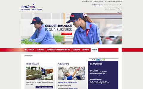 Screenshot of Press Page sodexo.com - Sodexo press releases, publications, video and image library - captured March 29, 2016