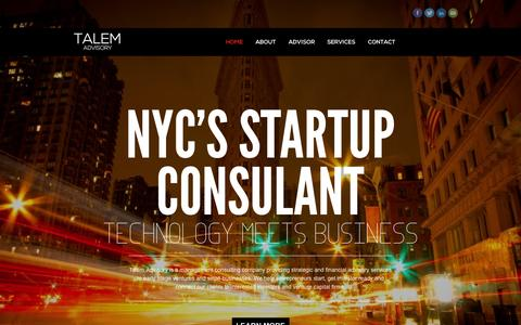 Screenshot of Home Page talemadvisory.com - Talem Advisory - NYC Startup Consultant, Strategic and Financial Advisory Services for Startups and Small Businesses - captured Sept. 30, 2014