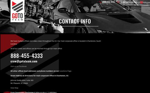Screenshot of Contact Page gototeam.com - Contact Info - captured Nov. 5, 2018