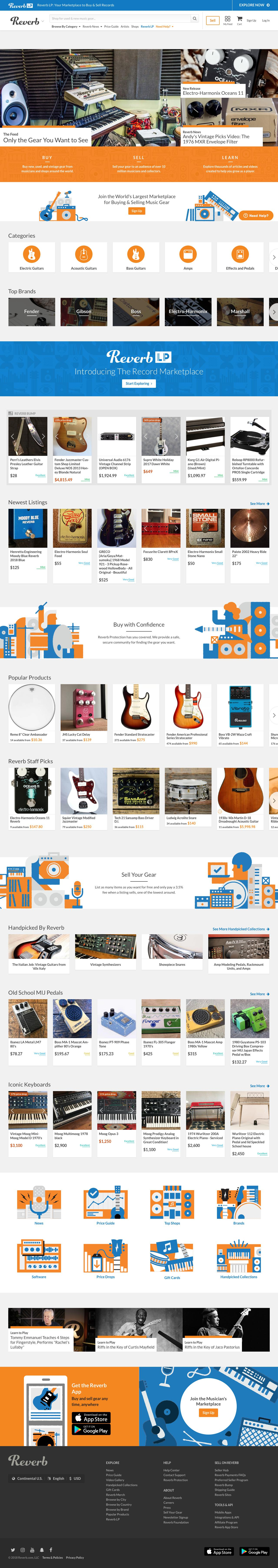 Screenshot of reverb.com - Buy & Sell Music Gear Online | Reverb - captured June 1, 2018