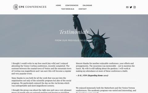 Screenshot of Testimonials Page cpeconferences.com - Testimonials — CPE Conferences - captured Nov. 27, 2017