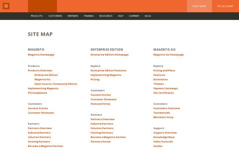 Screenshot of Site Map Page magento.com - Sitemap | Magento - captured July 21, 2014