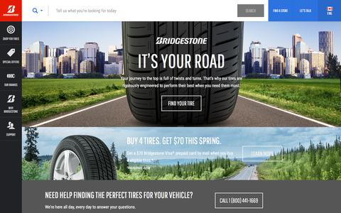 Screenshot of Home Page bridgestonetire.ca - Car Tires and Truck Tires | Bridgestone Tires - captured March 26, 2016