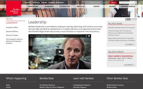 Screenshot of Team Page berklee.edu - Leadership   Berklee College of Music - captured Sept. 19, 2014
