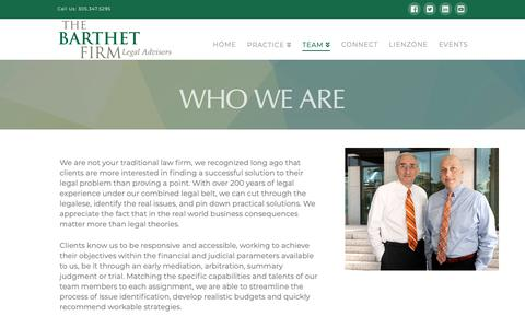 Screenshot of Team Page barthet.com - Who We Are - The Barthet Firm - captured Nov. 15, 2018