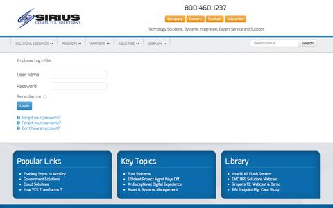 Screenshot of Login Page mysiriuszone.com - Employee Log In/Out - Sirius Computer Solutions - captured Sept. 23, 2014