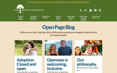 Screenshot of Blog openadopt.org - Open Page Adoption Blog - Adoption Stories from OA&FS - captured Dec. 2, 2016