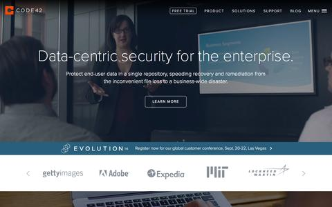 Screenshot of Home Page code42.com - Endpoint Data Protection and Security | Code42 - captured Feb. 24, 2016