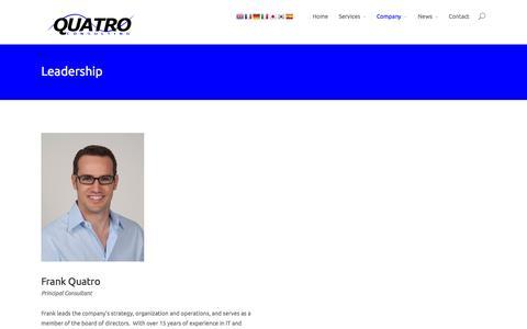 Screenshot of Team Page quatroconsulting.com - Leadership | Quatro Consulting - captured Oct. 27, 2014