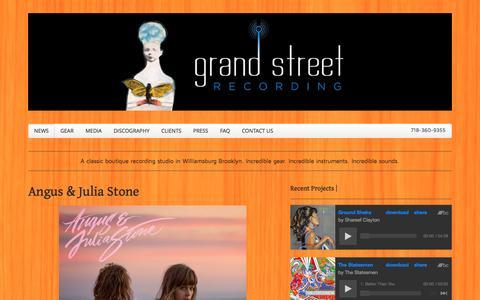 Screenshot of Home Page grandstreetrecording.com - Grand Street Recording | Brooklyn, New York - captured Sept. 30, 2014