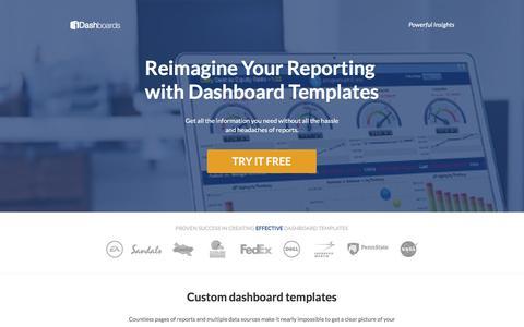 Screenshot of Landing Page idashboards.com captured Sept. 2, 2016