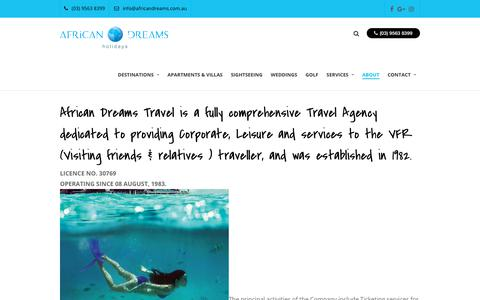 Screenshot of About Page mauritius.com.au - Company Profile - African Dreams Holidays - captured July 1, 2018