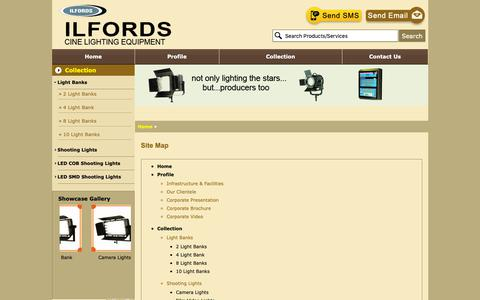 Screenshot of Site Map Page ilfordsindia.org - Sitemap - Ilfords Cine Lighting Equipment - captured Oct. 11, 2018