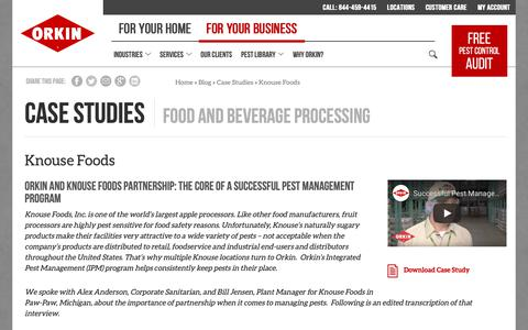 Screenshot of Case Studies Page orkin.com - Fruit Processing Food Safety & Pest Control Case Study - captured Oct. 26, 2018