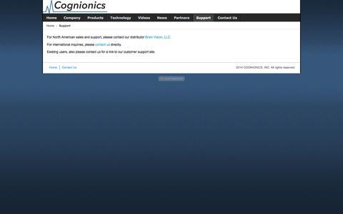 Screenshot of Support Page cognionics.com - Support - captured Dec. 5, 2015