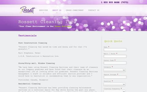 Screenshot of Testimonials Page rossett.ca - Testimonials - captured Oct. 9, 2014