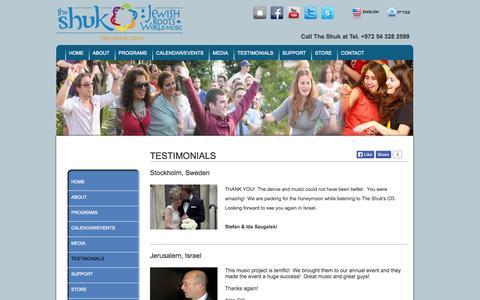 Screenshot of Testimonials Page the-shuk.com - The Shuk   Testimonials - captured Oct. 6, 2014