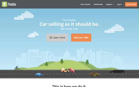 Screenshot of Home Page peddle.com - Sell Your Car Instantly | Peddle - captured July 19, 2015