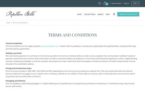 Screenshot of Terms Page papillonbelle.com - Terms and Conditions | Papillon Belle - captured July 15, 2018