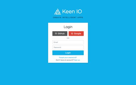Screenshot of Login Page keen.io - Keen IO - Analytics for Developers - captured March 14, 2017