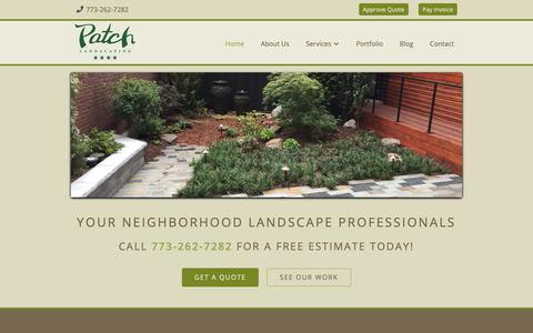 Screenshot of Home Page patchlandscaping.com - Chicago Landscaping and Snow Removal Services | Patch - captured Sept. 27, 2018