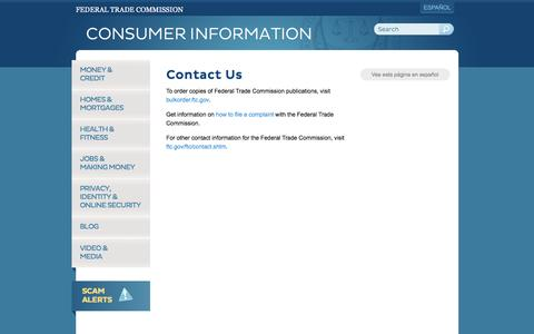 Screenshot of Contact Page ftc.gov - Contact Us   Consumer Information - captured Nov. 5, 2016