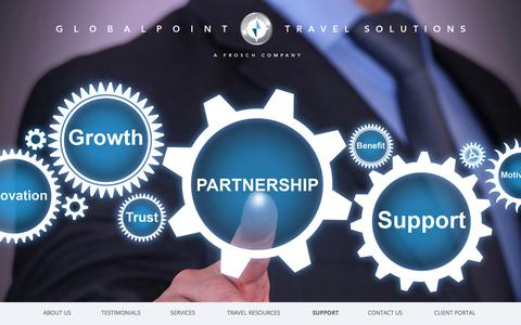 Screenshot of Support Page globalpointtravelsolutions.com - Support - captured July 20, 2018