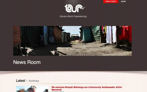 Screenshot of Press Page tour2-0.com - Community tours in South Africa | NEWS Page | Tour 2.0 - captured Oct. 7, 2014
