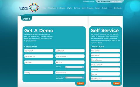 Screenshot of Signup Page itracks.com - Demo | itracks - captured Sept. 22, 2014