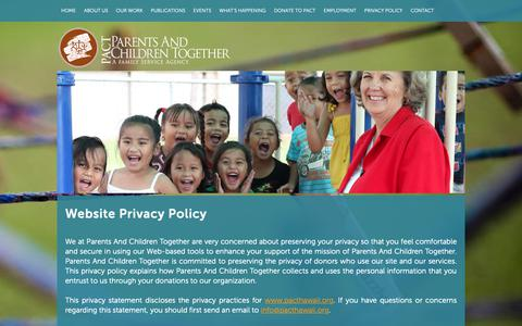 Screenshot of Privacy Page pacthawaii.org - PACT Parents and Children Together, Family Service Agency, Hawaii Non Profit, Community, Social, Educational Services - captured Oct. 25, 2018