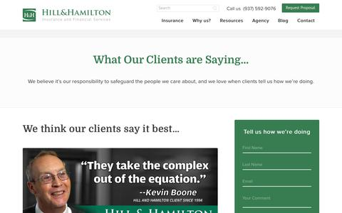 Screenshot of Testimonials Page hillandhamilton.com - What our Clients Say - captured July 21, 2017
