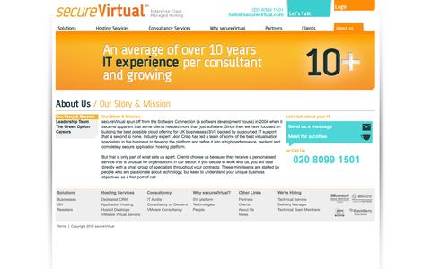 Screenshot of About Page securevirtual.com - Our Story & Mission - About Us - Secure Virtual - Enterprise Class Managed Hosting - captured Sept. 30, 2014