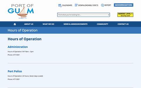 Screenshot of Hours Page portofguam.com - Hours of Operation - Port Authority of Guam - captured April 12, 2017