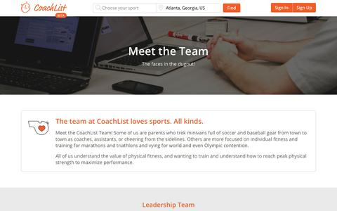 Screenshot of Team Page coachlist.com - Meet the Team | CoachList - captured Dec. 15, 2018