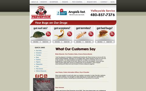 Screenshot of Testimonials Page arizonapestprevention.com - Arizona Pest Prevention | Customer Testimonials - captured Oct. 4, 2014