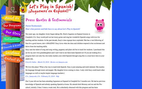 Screenshot of Testimonials Page letsplayinspanish.com - Let's Play in Spanish! - Press Quotes - captured Sept. 29, 2014