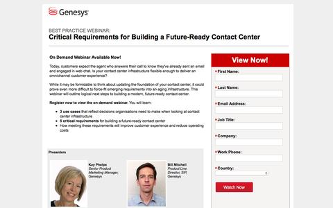 Screenshot of Landing Page genesys.com - Genesys Webinar - Critical Requirements for Building a Future-ready Contact Center - captured Aug. 17, 2016