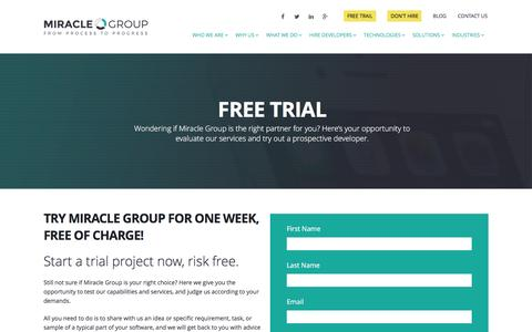 Screenshot of Trial Page miraclegroup.com - Free Trial - - captured Jan. 12, 2016