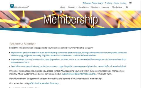 Screenshot of Signup Page acainternational.org - Become a Member ACA International - captured June 21, 2017